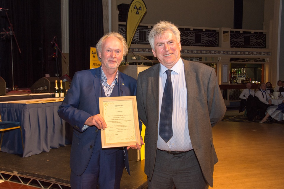 David Gallacher (Guy's and St.Thomas' NHS Foundation Trust) receiving Bernard Wheatley Award from Richard Wakeford (JRP Editor-in-Chief)